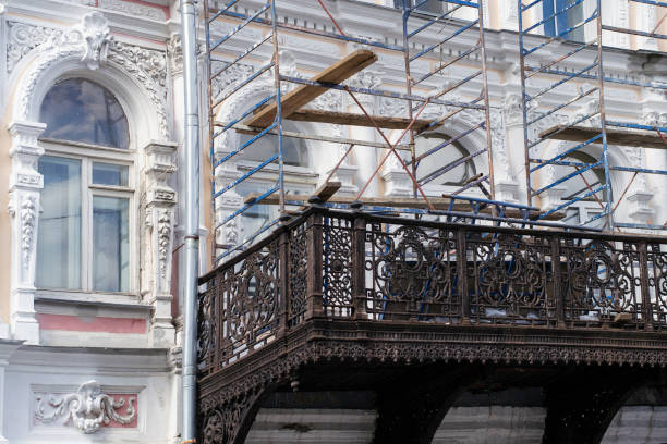 Restoration of buildings. Old architecture renovation. stock photo