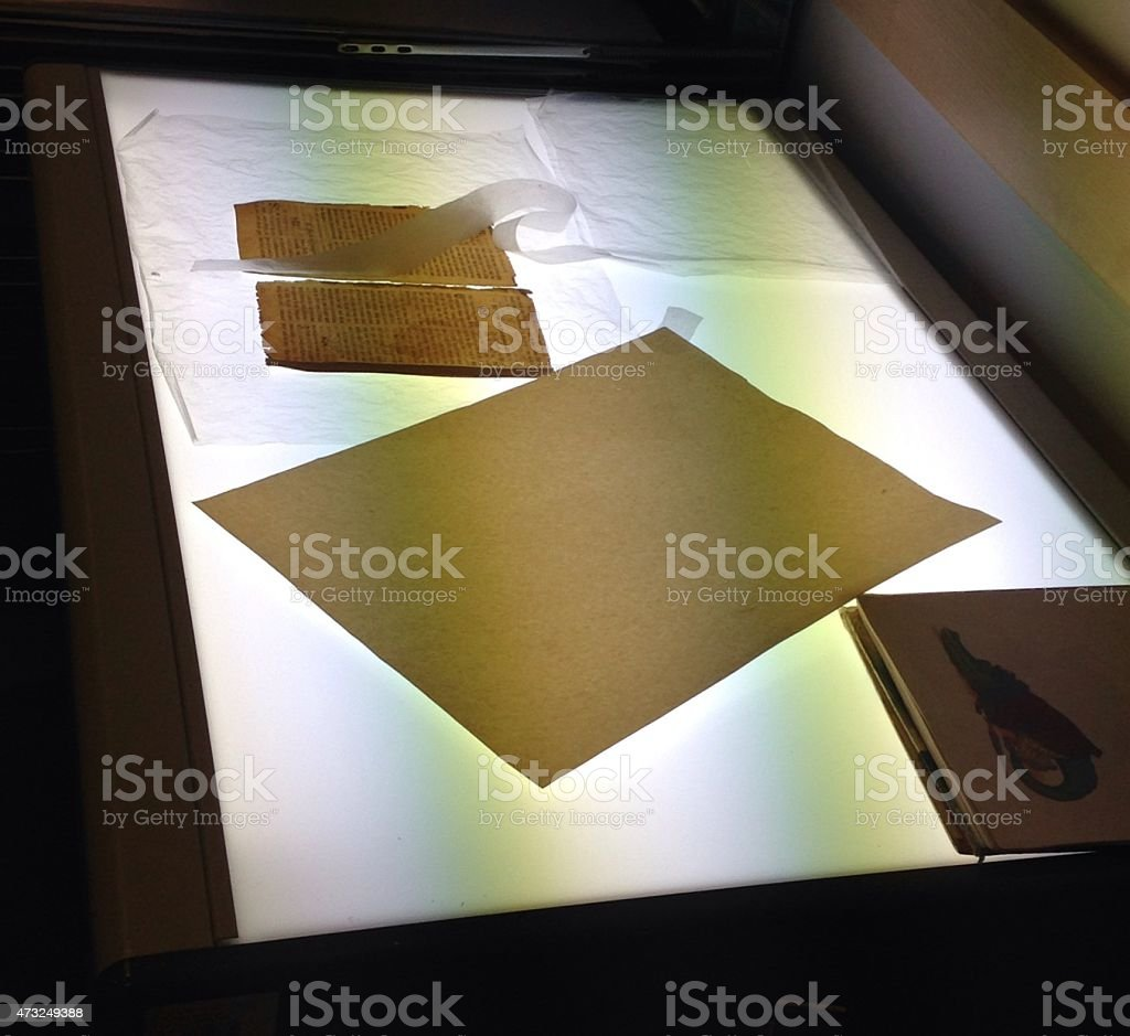 Restoration of old books, the library department. stock photo