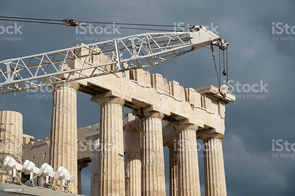 Restoration of Parthenon stock photo