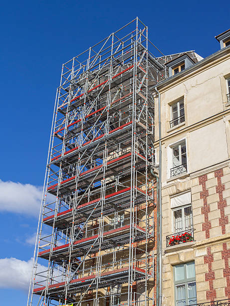 Restoration with scaffold stock photo
