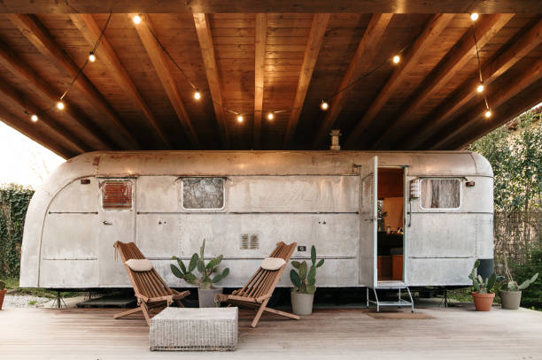 Restored american camper trailer stock photo