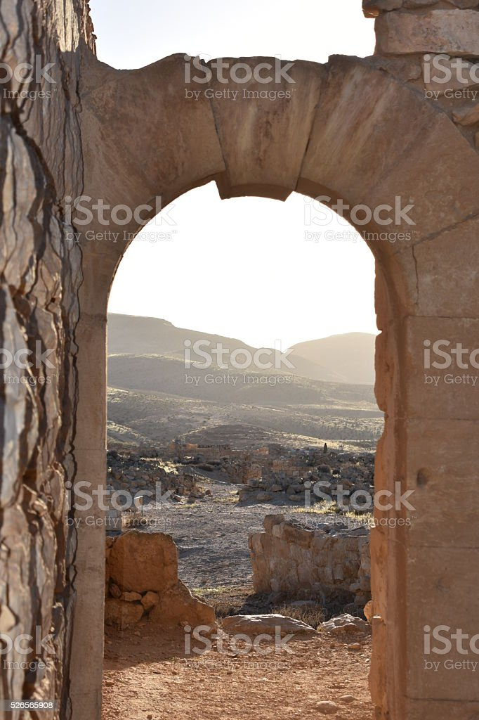 Restored archway in ruins of Caesarea stock photo