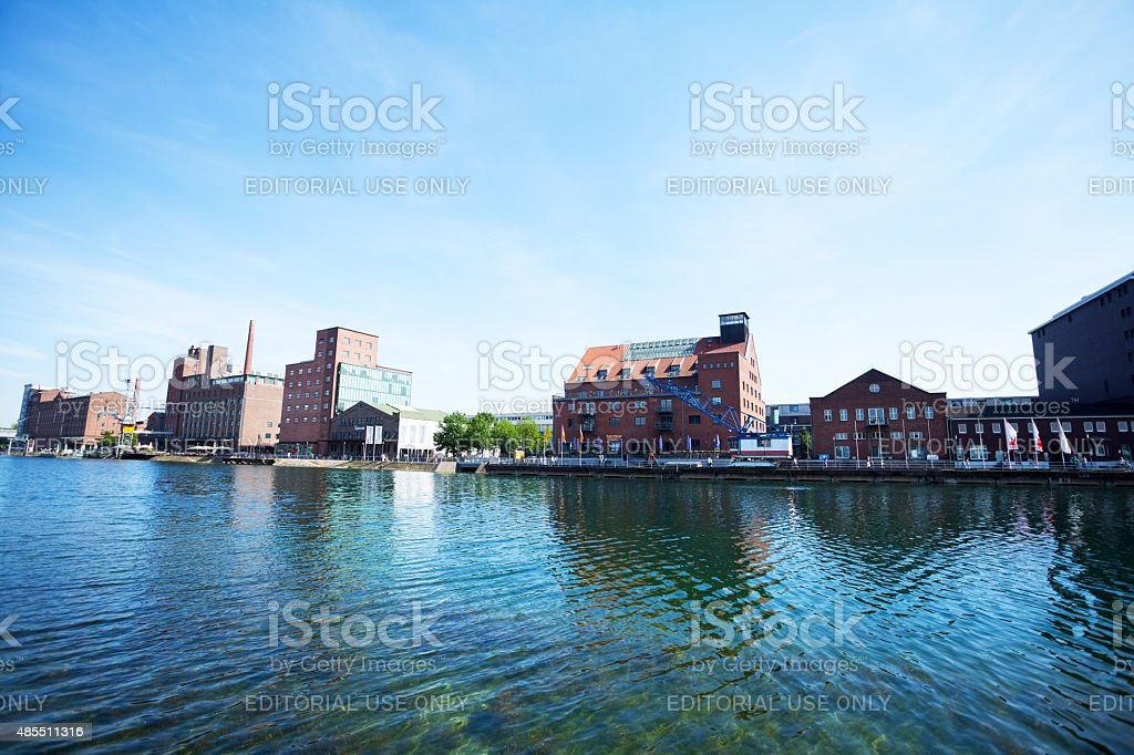 Restored buildings and canal of inner harbor Duisburg stock photo