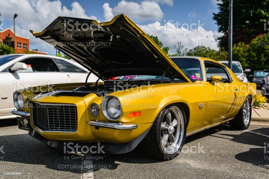 A restored classic Chevy Camaro on display at the Matthews Auto Reunion stock photo