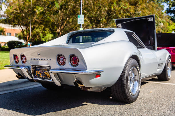 A restored classic Chevy Corvette Stingray parked on display at the Matthews Auto Reunion stock photo