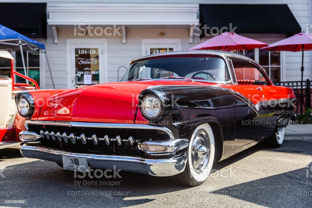 A restored classic Ford Customline parked on display at the Matthews Auto Reunion stock photo