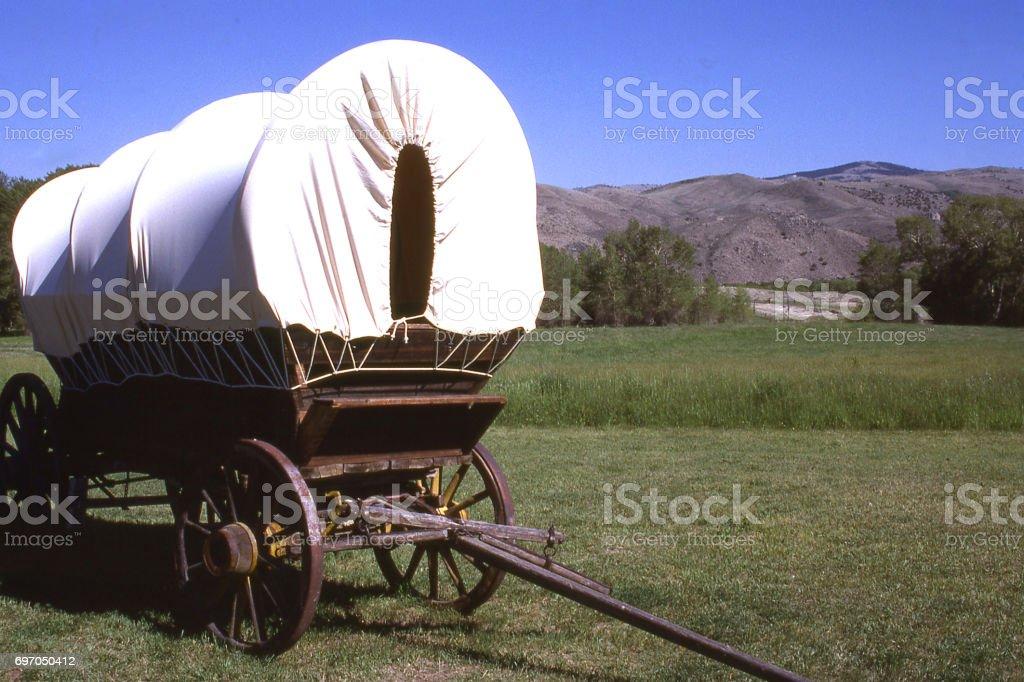 Restored Conestoga Wagon in Grand Encampment Rendezvous Wyoming stock photo