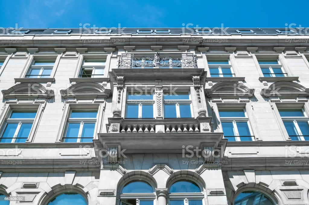 restored facade of old apartment building in Berlin royalty-free stock photo