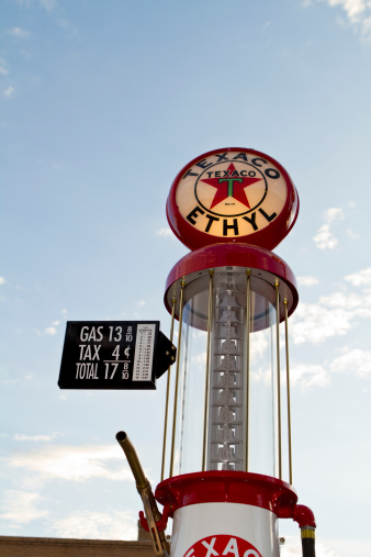 Williams, USA - July 8, 2012: A beautifully restored fuel pump from route 66. The brand on the pump is from TEXACO.