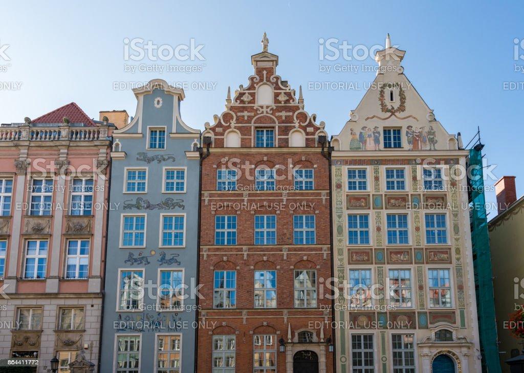 Restored homes on Long Lane in Gdansk, Poland stock photo