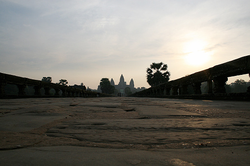 Restored Naga serpent statue at the entrance of Angkor Wat temple, in Cambodia.