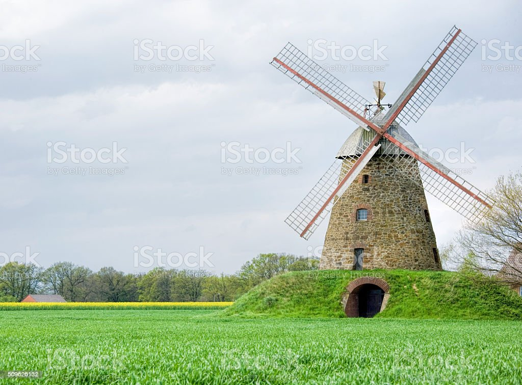 Restored old Windmill countryside in North Rhine Westphalia, Germany stock photo