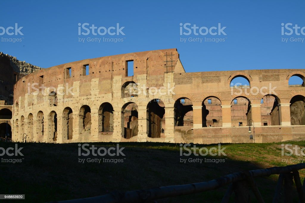 Restored part of the colosseum stock photo