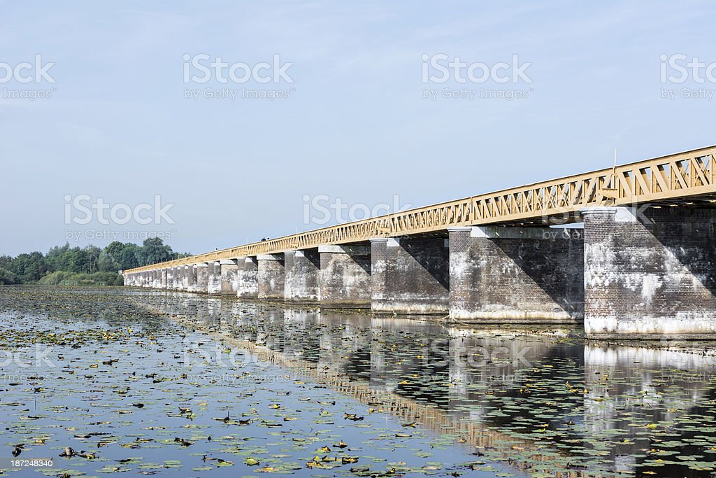 Restored Railway bridge side view royalty-free stock photo
