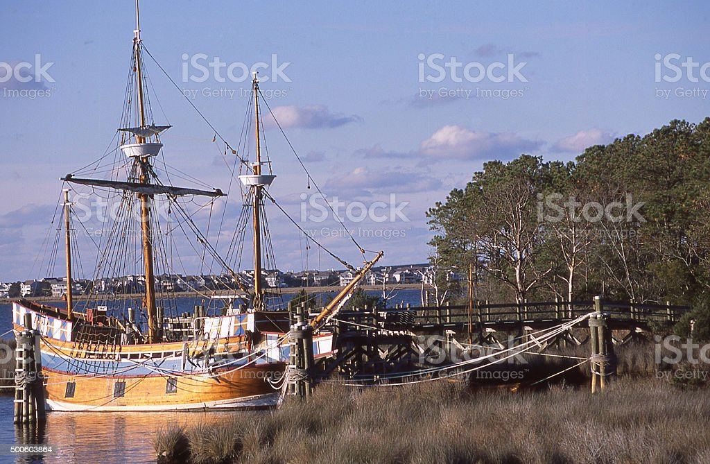 Restored ship Susan Constant at dock Jamestown Settlement Williamsburg Virginia stock photo