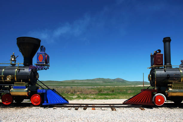 Restored Trains at Golden Spike Historic Site, Utah stock photo