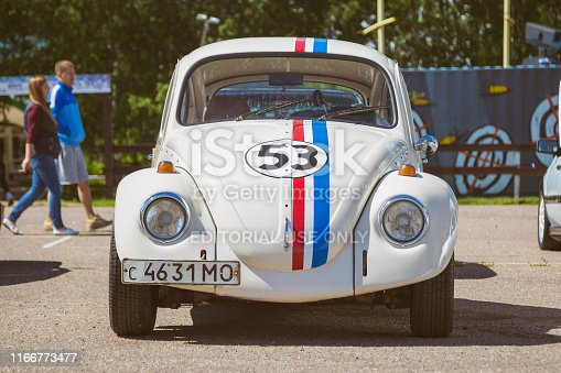 Moscow, Russia: July 06, 2019: Restored Volkswagen beetle stylized number 53. Parked on the street on a clear sunny day. Front view