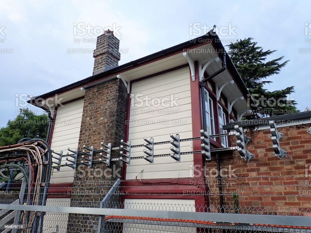Restored wooden signal box at Chorleywood Railway Station, Hertfordshire royalty-free stock photo