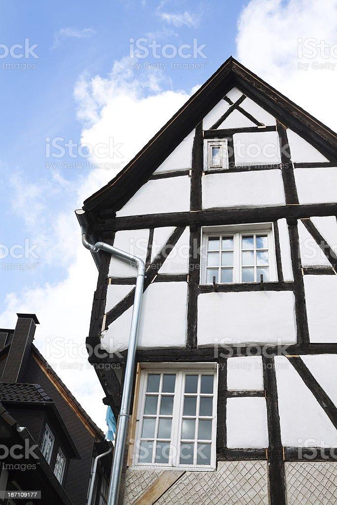 Restoring half-timbered building royalty-free stock photo