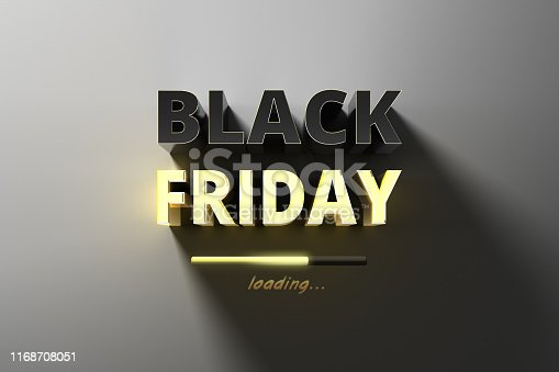 istock Restrained elegance banner for sales on Black Friday. Rectangular banner. Sale poster of black friday. Design home page sliders for black friday sales on red background. 3d illustration 1168708051