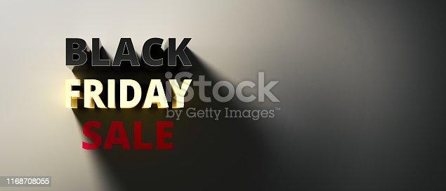 istock Restrained elegance banner for sales on Black Friday. Rectangular banner. Sale poster of black friday. Design home page sliders for black friday sales on red background. 3d illustration 1168708055