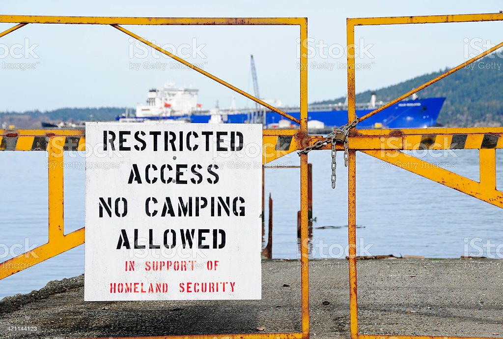 Restricted access at oil refinery royalty-free stock photo