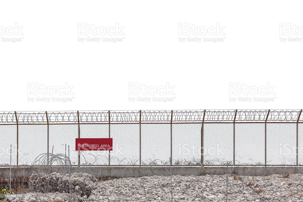 Restricted area fence on white background. stock photo