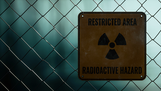 Restricted Area Radioactive Hazard Sign On Wire Fence, Radioactive Material Processing Facility Concpet, 3d Rendering
