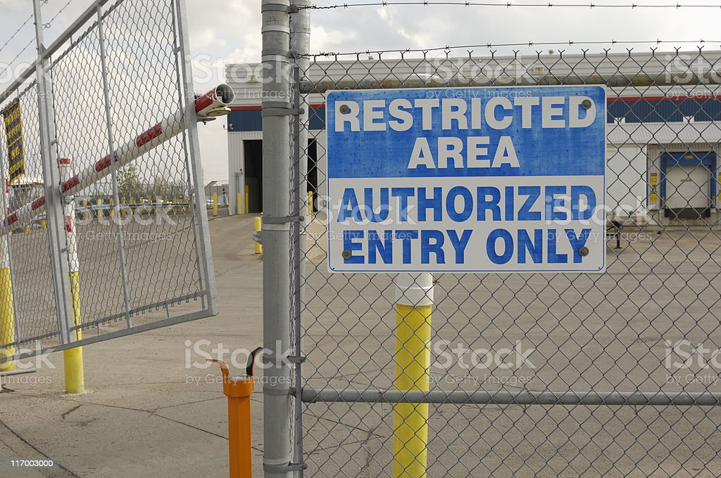 Restricted area sign royalty-free stock photo