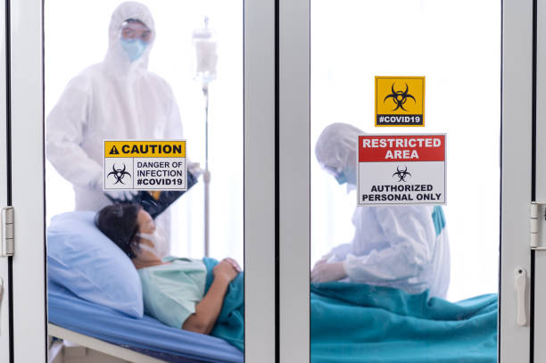 Restricted area signs in front of the clean room Restricted area signs in front of the clean room with doctors and patient background protective suit stock pictures, royalty-free photos & images
