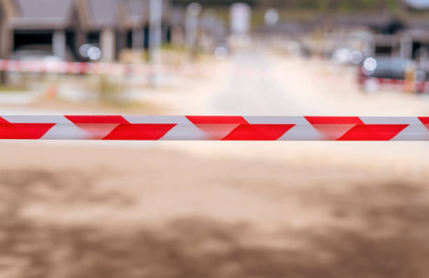 Restricted area with tape at a neighborhood stock photo