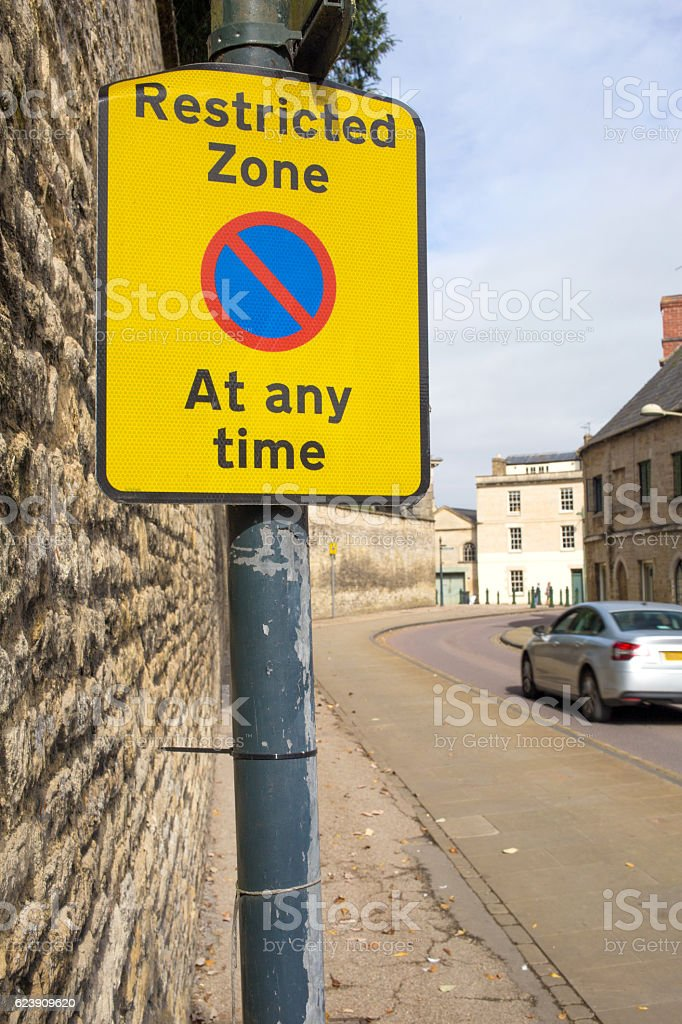 Restricted parking zone sign stock photo