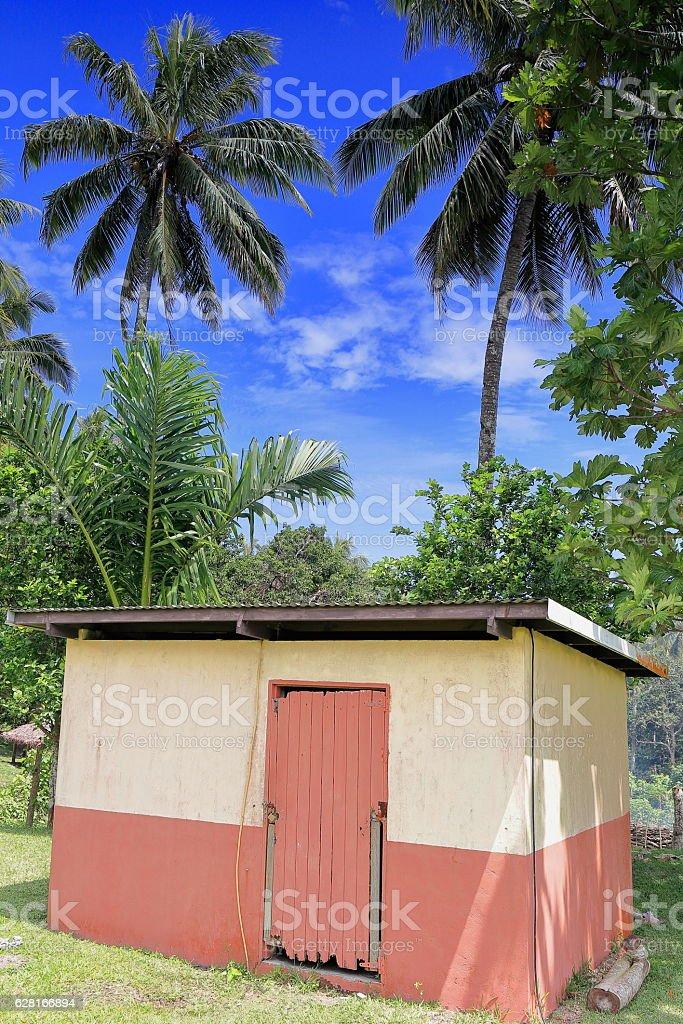 Restroom building-Topol secondary school complex. Newa village-Olal-Ambrym island-Vanuatu. 6215 stock photo