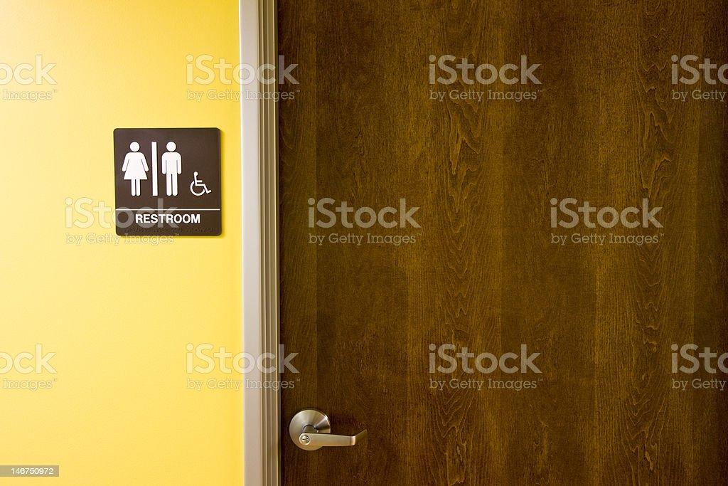 Restroom Door and Sign stock photo