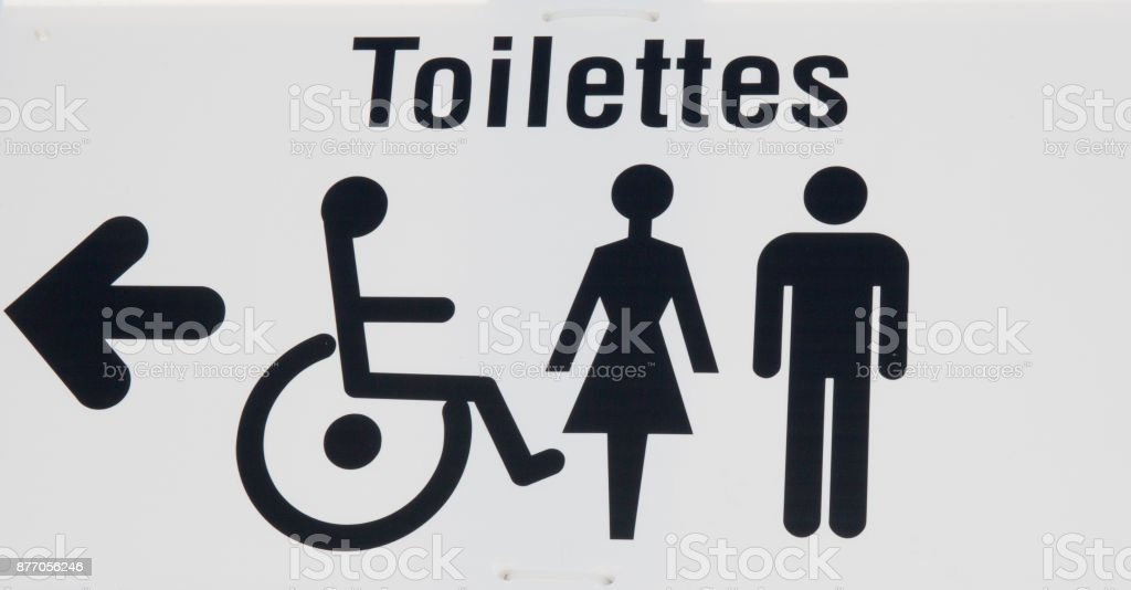 Restroom icon, toilette signs under white background stock photo