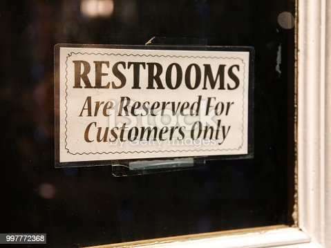 Restroom Reserved for Customers Patrons Only Sign in Window