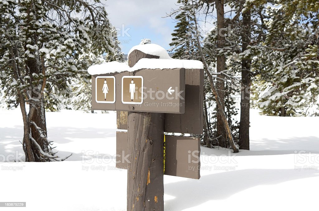Restroom Signs In Winter Yellowstone National Park Stock
