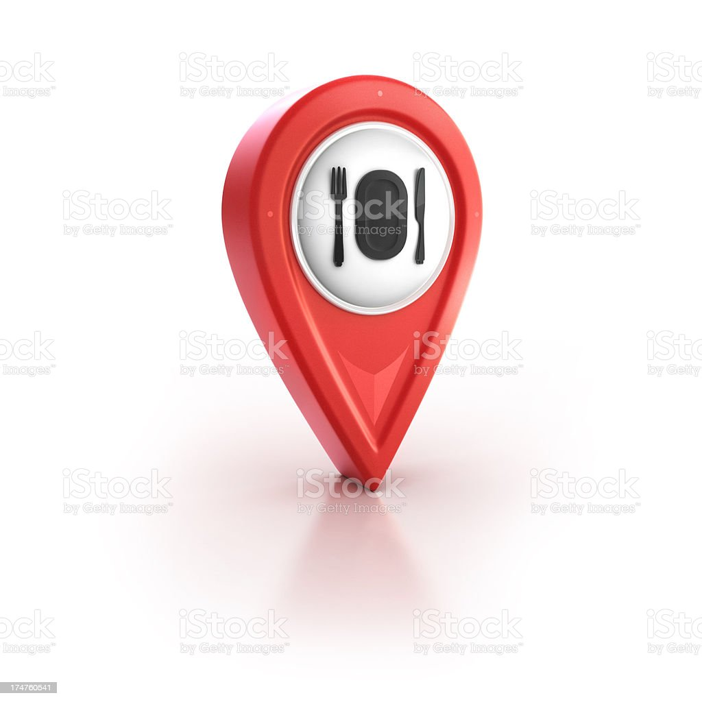 resturant and dining pinpoint location icon stock photo