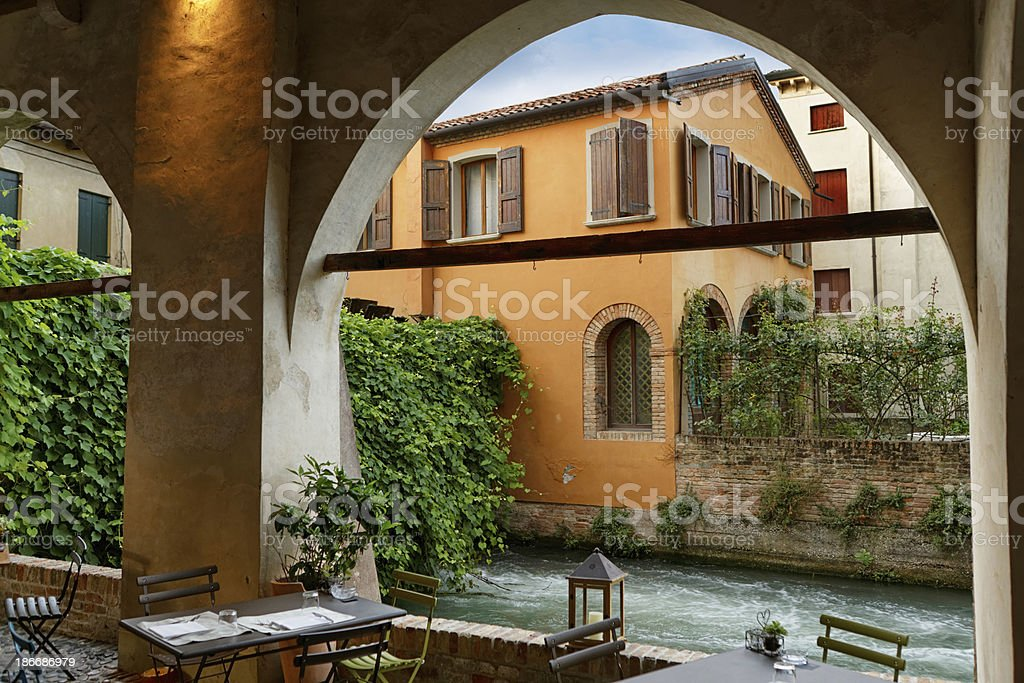 resturant tables in Treviso stock photo
