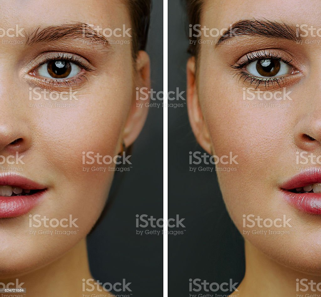 Result coloring and styling eyebrows before / after stock photo
