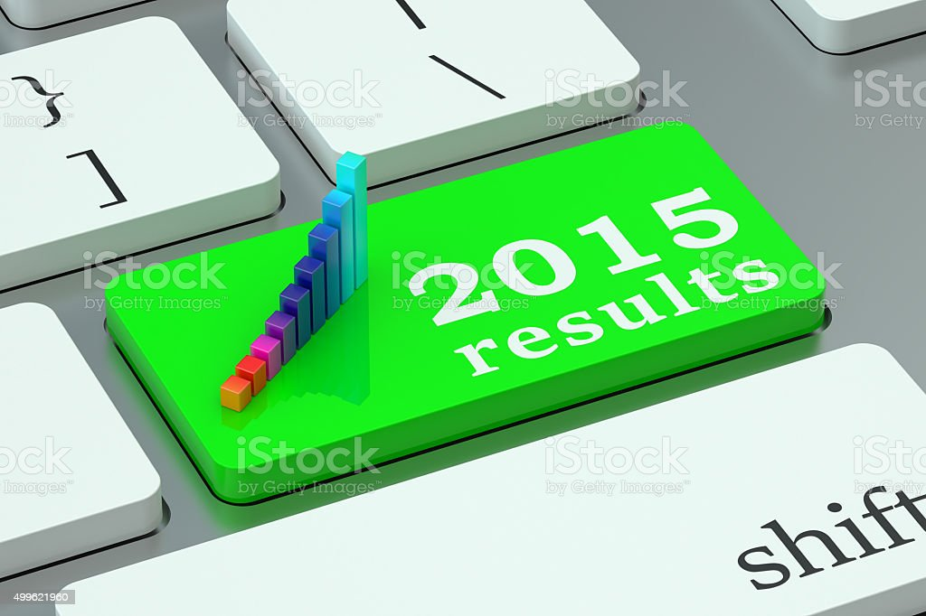 Los resultados en el teclado de 2015 concepto - foto de stock