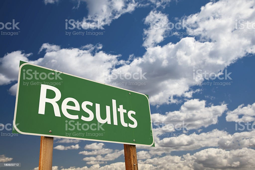 Results Green Road Sign stock photo