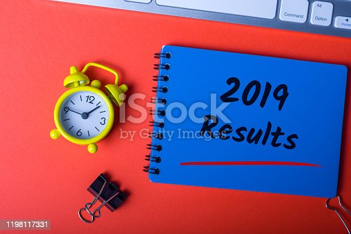 2019 Results - Review of 2019 year on office desk.