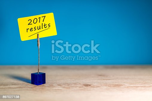 istock 2017 results text on a on note at blue background with empty space for text, template and mockup 897027138