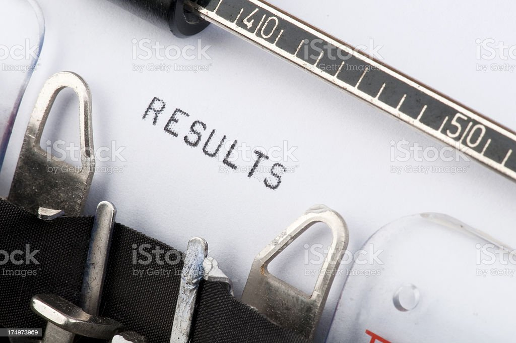 Results typed on old typewriter royalty-free stock photo