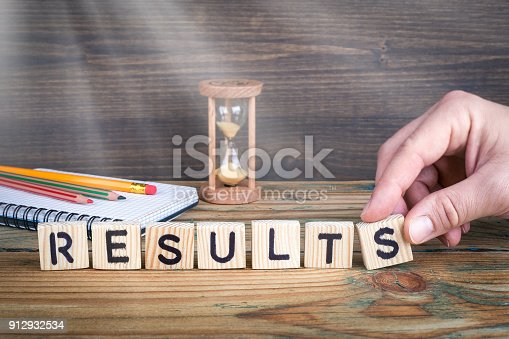 istock results. Wooden letters on the office desk, informative and communication background 912932534