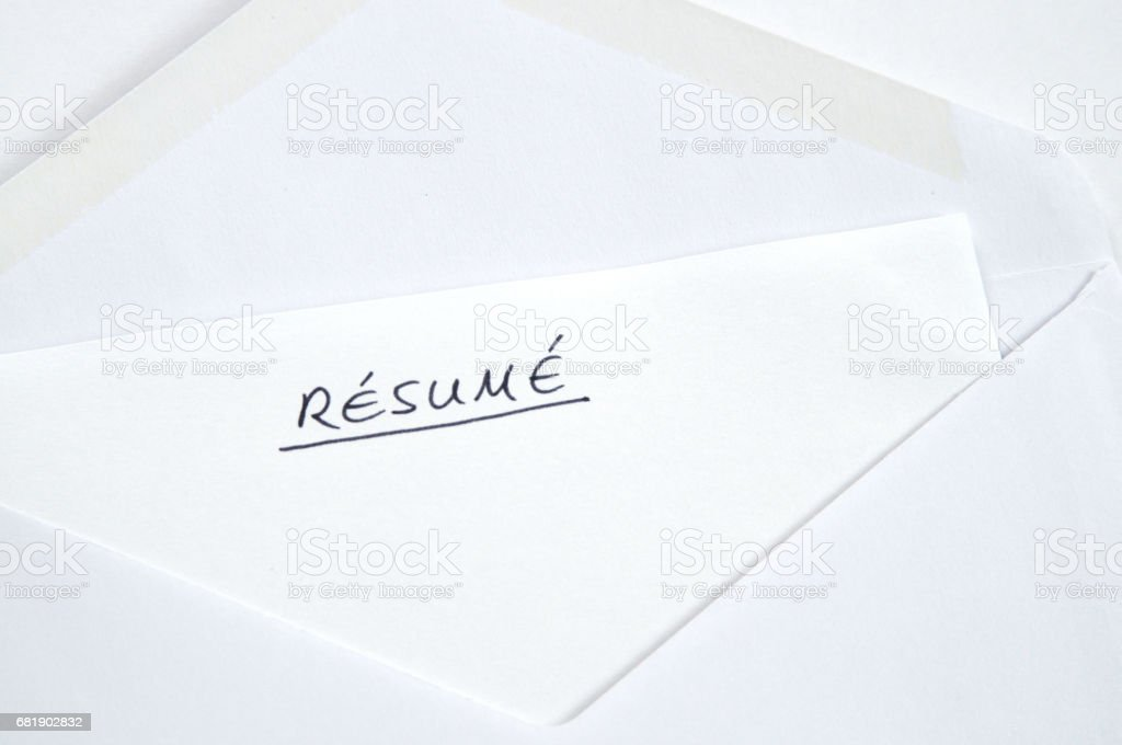 resume in handwriting in white envelope stock photo more pictures
