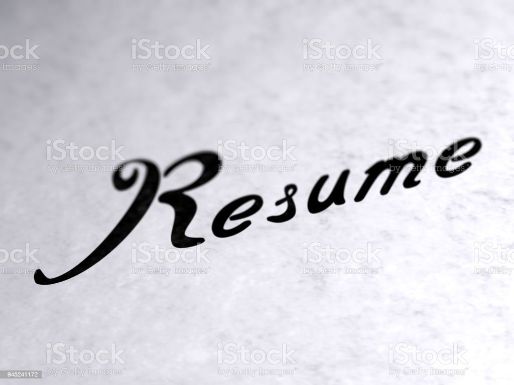 'Resume' on the page. stock photo