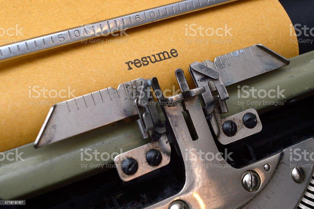 Resume on typewriter royalty-free stock photo