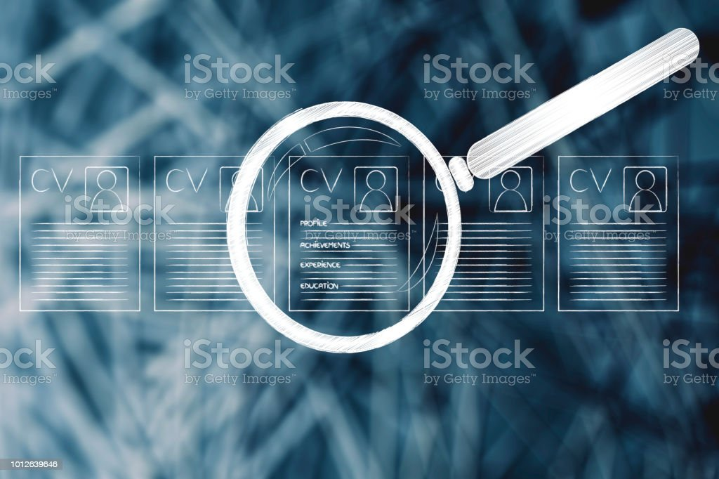 resume standing out among others, with magnifying glas stock photo